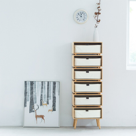抽屉式收纳储物柜 现代简约自由组合五斗柜 竹木办公室收纳柜子 标准版(单层) 不带脚