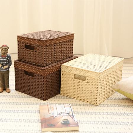 草编编织收纳盒小号卧室桌面收纳箱内衣杂物整理箱零食玩具储物箱