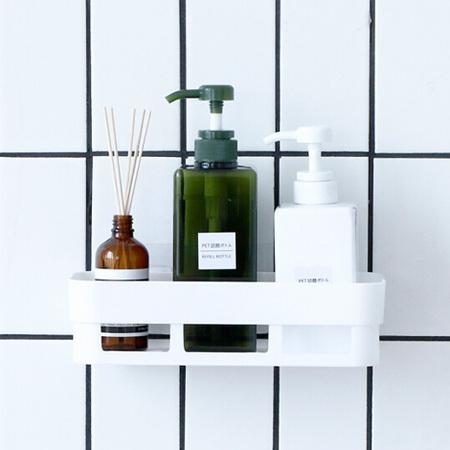壁挂浴室卫生间置物架墙上收纳架层架厨房置物架吸壁式免打孔壁挂 白色 2个装