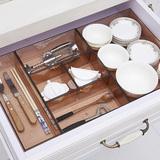 抽屉收纳盒隔板格厨房分隔盒家用塑料分类餐具橱柜整理盒 套装C(2小2中2长2大)
