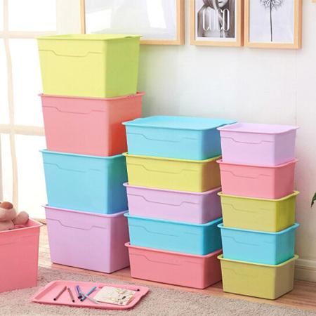塑料收纳箱四件套 大号玩具整理箱 有盖内衣收纳盒 家用衣物储物箱 多彩混色4个装