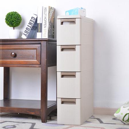 夹缝收纳柜塑料移动储物整理柜抽屉式组合收纳柜缝隙窄柜 咖啡色四层