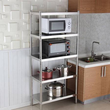 厨房货架家用5层不锈钢厨房置物架用品收纳架储物架落地多层锅架 定制